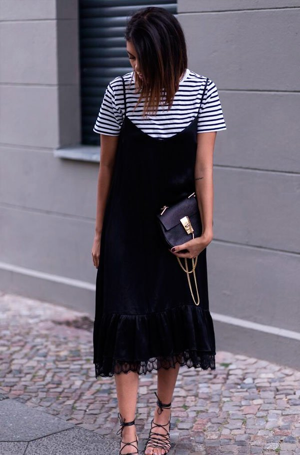 it-girl - t-shirt-listras-slip-dress - t-shirt-listras - verão - street style