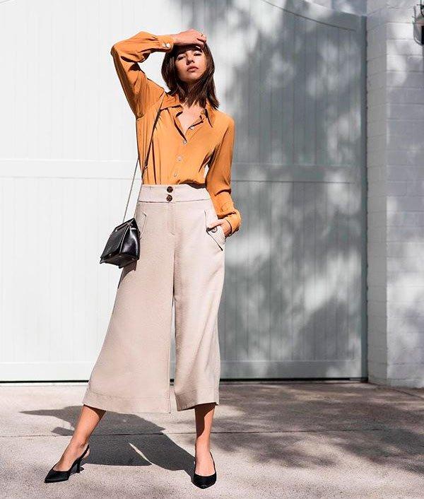Talisa Sutton - alfaiataria-look-calca-camisa-street - look monocromático - meia estação - street style