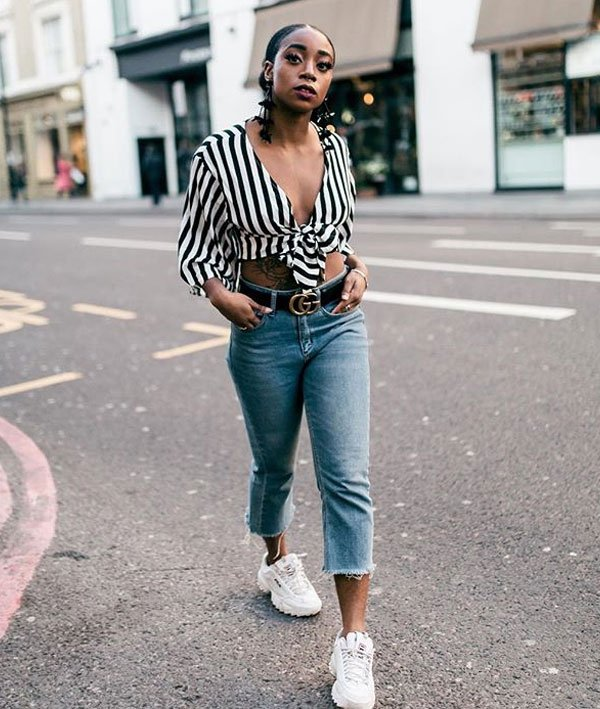 Uzy Nwachukwu - camisa-listras-calca-jeans-look - camisa listrada - verão - street style