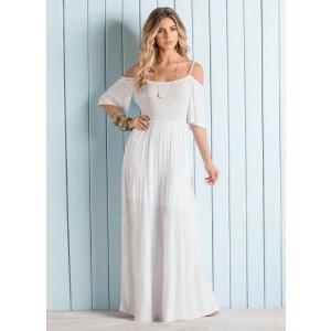 Vestido Longo Ombros De Fora Branco