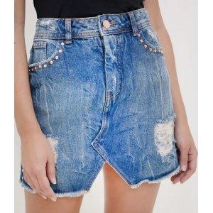 Saia Jeans com Tachas