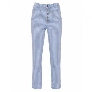 Calça Jeans Slim Botões Listras