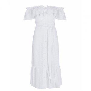 Laise Shoulder Dress With Ruffled Shoulder