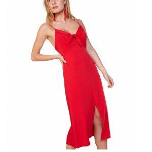 Midi Dress With Bow Tie
