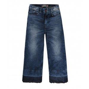 Calça Jeans Wide Cropped Com Barra Desfeita
