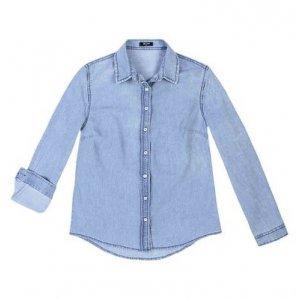 Camisa Jeans Feminina Em Algodão Com Lavanderia