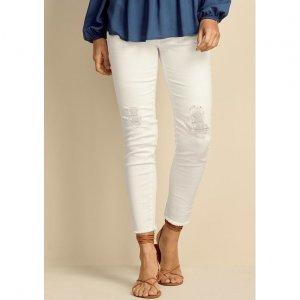 Calça Skinny Feminina Em Sarja De Algodão Com Destroyed