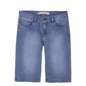 Bermuda Jeans Feminina Em Algodão Com Barra Regulável
