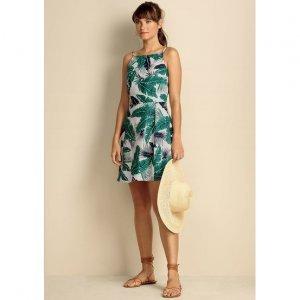 Vestido Em Tecido De Linho Estampado Com Modelagem Fit E Flare