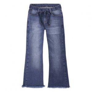 Calça Jeans Feminina Cropped Flare Com Amarração Frontal