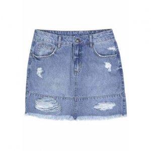 Saia Jeans Em Algodão Com Puídos E Lavação Moderna