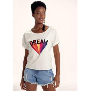 T-Shirt Em Malha De Algodão Com Bordado E Mangas Dobradas