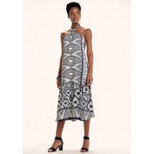 Vestido Midi Estampado Em Tecido Crepe Com Amarração