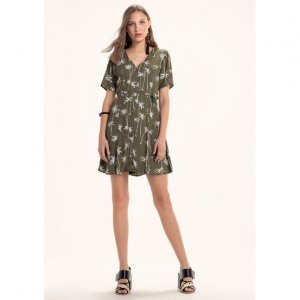 Printed Fabric Dress Crepe Short Sleeves Button Closure