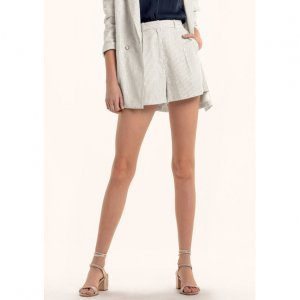 Cotton And Linen Striped Tailoring Shorts