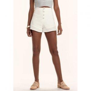 Shorts Em Tecido Flamê De Algodão Com Cintura Super Alta
