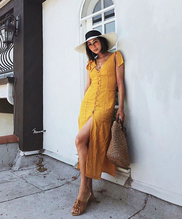 Aimee Song - aimee-song-dress-yellow-hat-glasses-summer-dress-summer-street-style