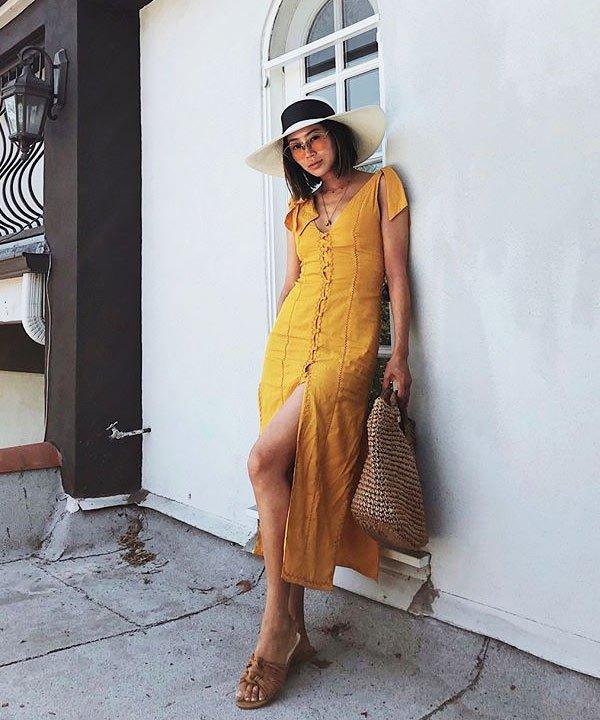 Aimee Song - aimee-song-vestido-amarelo-chapeu-oculos - vestido-verão - verão - street-style