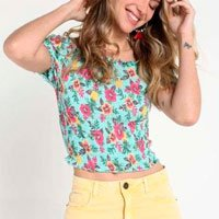 Blusa Cropped Ombro Floral