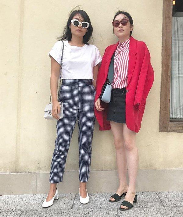 Giulia Song - camiseta-branca-calça-xadrez-sapato-branco - t-shirt - verão - street style
