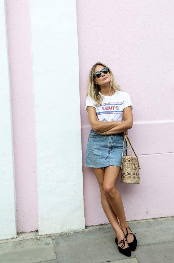 it girl - saia-jeans-camiseta - saia jeans - verão - street style