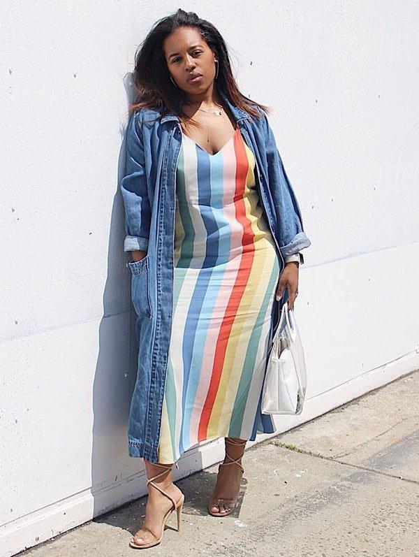 it-girl - dress-midi-stripes-look-street - dress-midi - summer - street-style