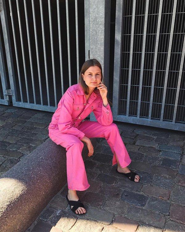 Annsophie Stoltenberg Roest - macacão-rosa - rosa - verão - street style
