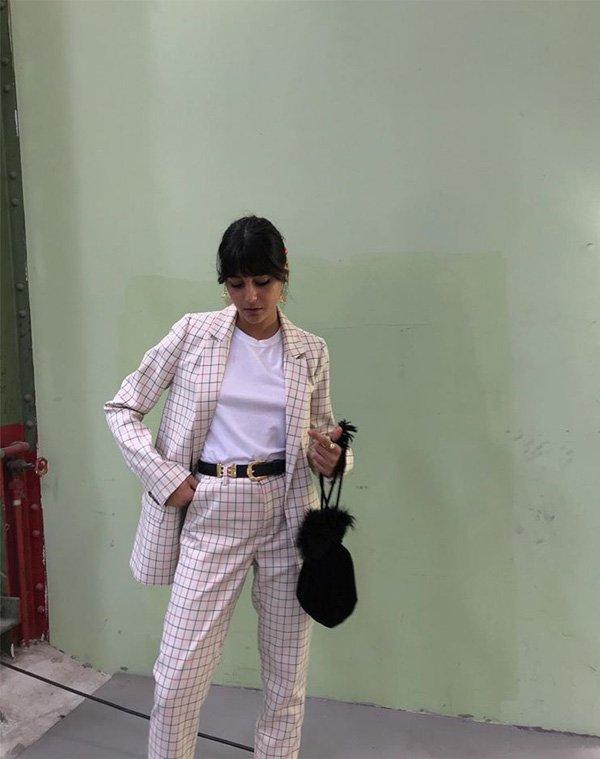María Bernad - camiseta-branca-terninho-quadriculado - t-shirt - verão - street style