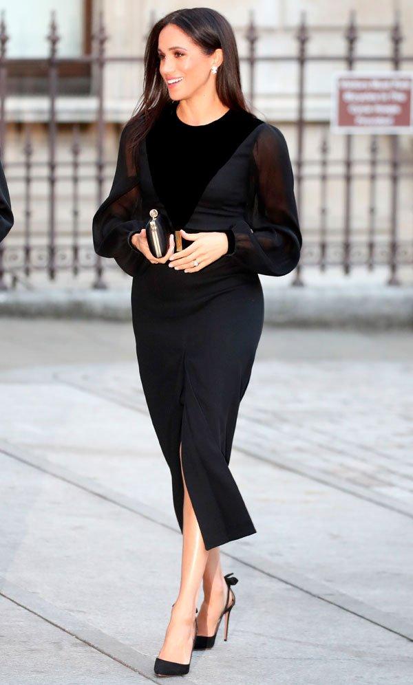 Meghan Markle - vestido-preto - preto - outono - Royal Academy Of Arts