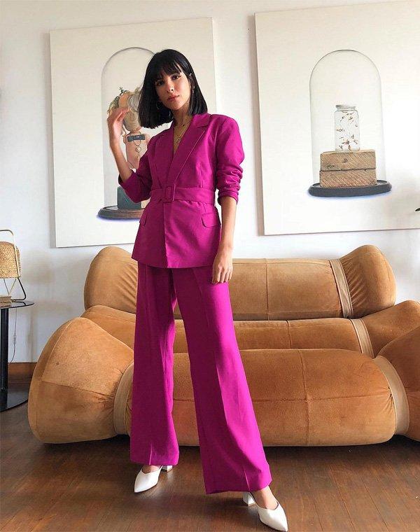 Nathalie Billio - blazer-calca-sapato-rosa-branco - blazer - verão - street style
