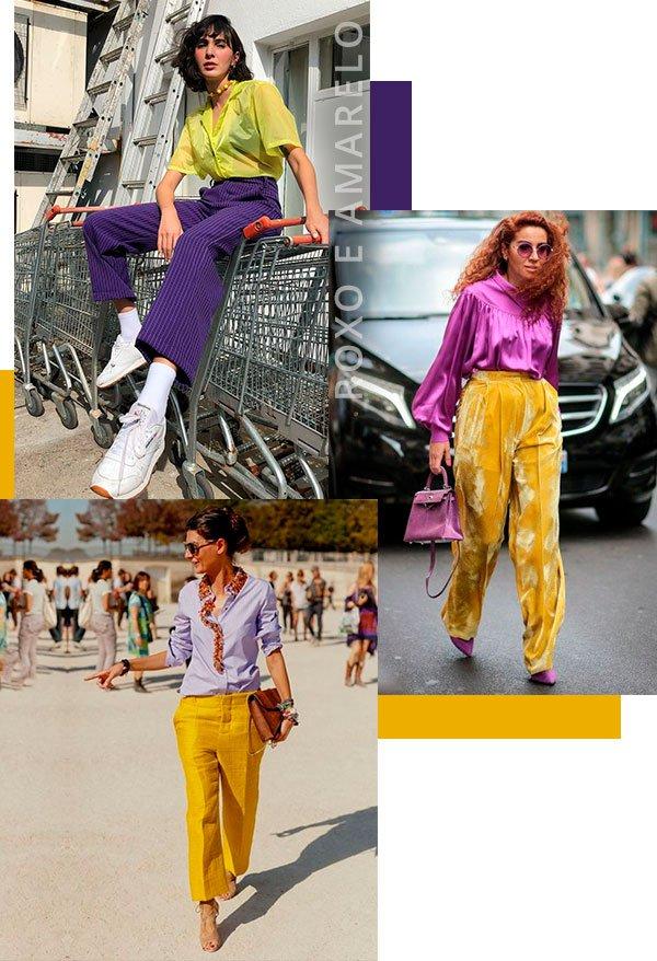 roxo - amarelo - looks - moda - street