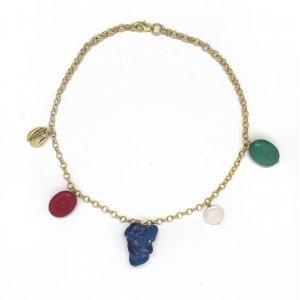 Mixed Stones Necklace Tamanho: U - Cor: Dourado