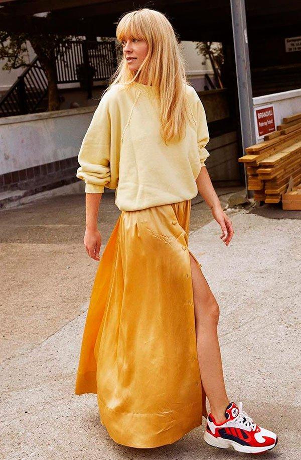 saia - tricot - amarelo - comprar - moda