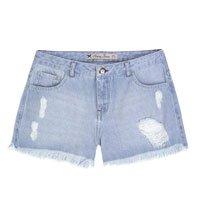 Shorts Jeans Feminino Em Algodão Com Puídos E Barra Desfiada
