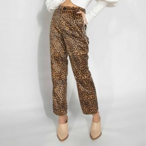 Calça Flare Cropped Leopard Print Tamanho: 42 - Cor: Marrom