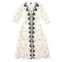 Midi Dress Embroidered Fabric Viscose Crepe