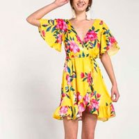 Vestido Transpassado Floral
