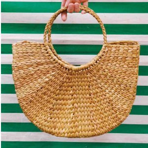 Straw Handbag Size: U - Color: Beige