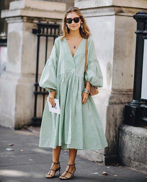 Jenny Walton - dress-green - color - summer - street-style