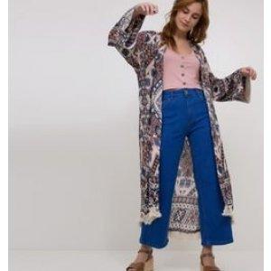 Kimono com Bordados e Franjas