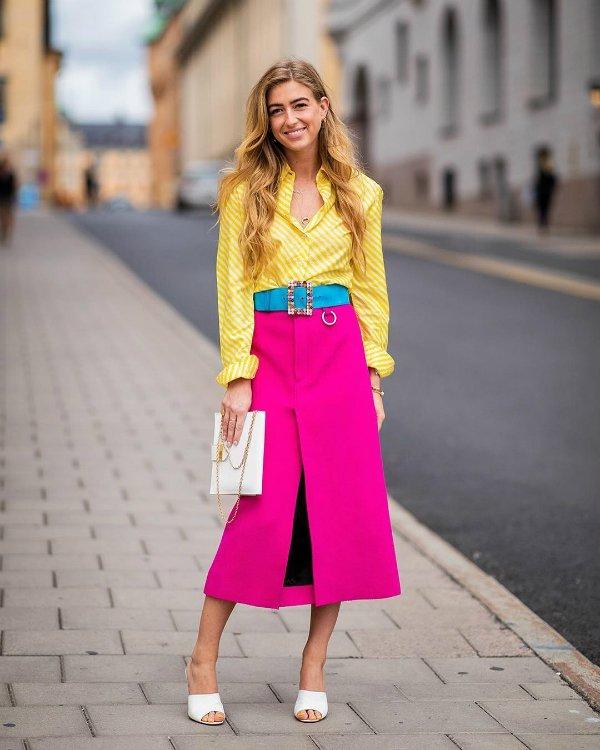 Emili Sindlev - yellow-shirt-skirt-pink - color - summer - street-style