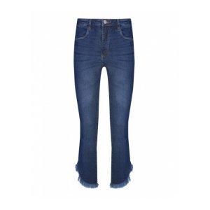 Calça Jeans Cropped Barra Com Franjas