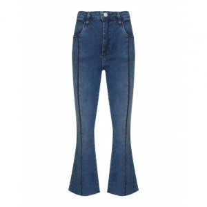 Calça Jeans Flare Cropped Nervura