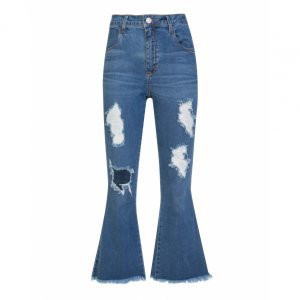 Calça Jeans Cropped Flare Destroyed