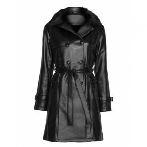 Trench Coat Leather Com Gola Fur