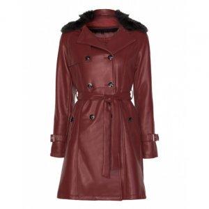 Trench Coat Leather Com Gola Fur