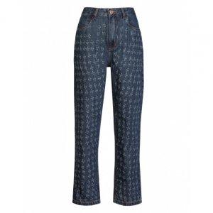 Calça Jeans Reta Detalhe Laser