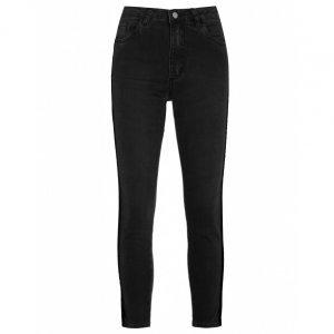 Calça Jeans Skinny Listras Veludo