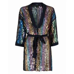 Vestido Kimono Curto De Paetê