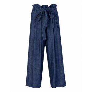 Calça Jeans Pantacourt Com Elástico